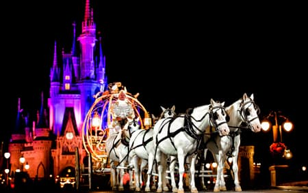 A Coachman In Cinderellas Crystal Coach Drives 6 Horses Outside Cinderella Castle At Night