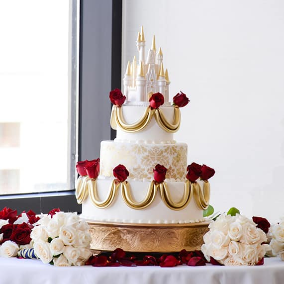 Wedding Cake Wednesday Beauty and the Beast Roses Disney Weddings