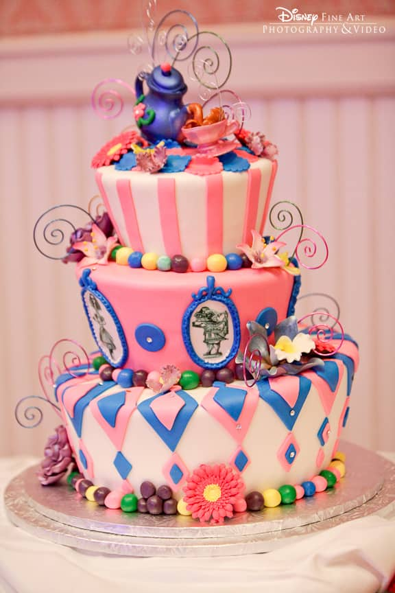 Wedding Cake Wednesday: Blue & Pink Mad Hatter | Disney Weddings