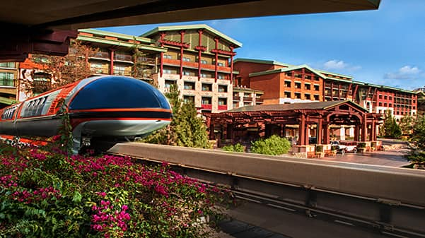 The Disneyland Monorail outside of Disneys Grand Californian Hotel & Spa