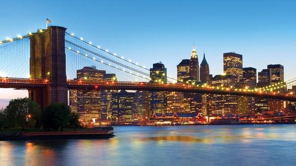 Brightly lit buildings in Manhattan