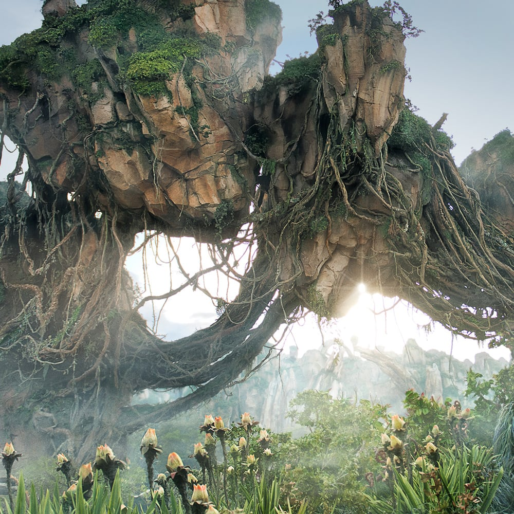 Magnificent floating mountains rise skyward in the Valley of Mo'ara at Pandora - The World of Avatar